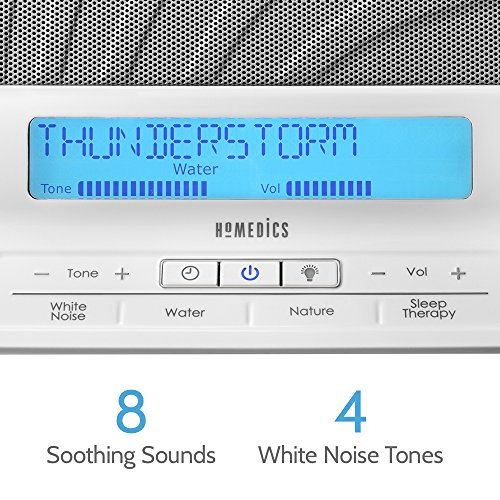 HoMedics Therapy   Noise Device, LCD Screen, Remote, Timer, Dimmer, Nature Sounds, Masks 8 Programs