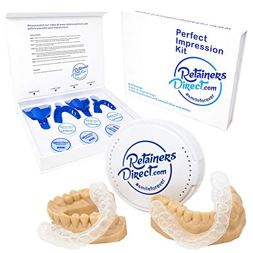 Orthodontic Retainers Kit, Custom Set of Two, 1 Upper Retainer 1 Lower Retainer, Clear Dental Guard Trays for Mouth Movement, Teeth Whitening, Protects from Mild Teeth Grinding, Mild Teeth Clenching ()