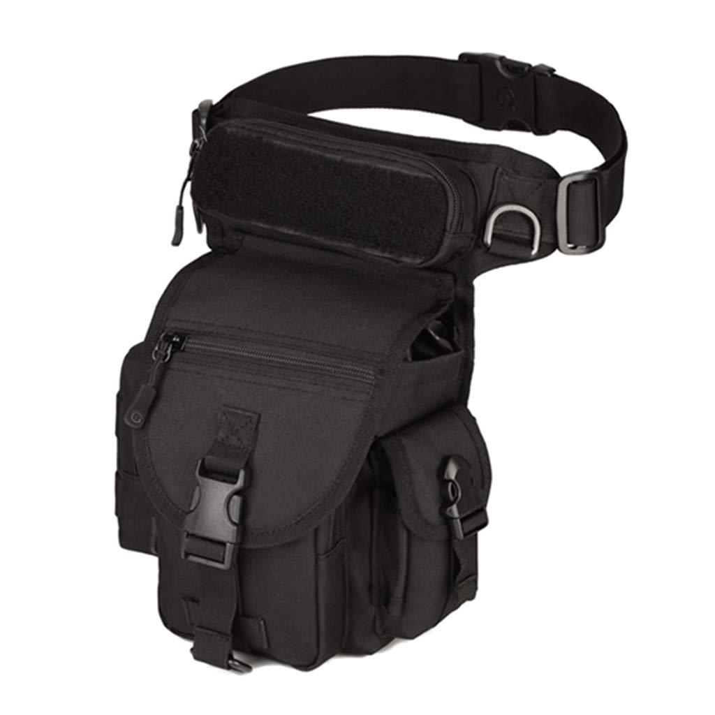 Dabixx Waist Bag, Vintage Men Nylon Drop Leg Bag Motorcycle Rider Military Belt Waist Fanny Pack Black