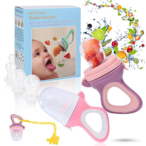 - Baby Fruit Feeder Pacifier - Baby Food Feeder - Fresh Food Feeder - Infant Fruit Teething Toy, 2 Pack with 6 Silicone Sac and 1 Pacifier Clip (Purple & Deep Pink)