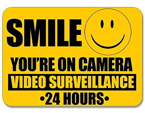 MAGNET 4x5 inch Smile You're On Camera Video Surveillance Sticker -24 hour cam warning Magnetic vinyl bumper sticker sticks to any metal fridge, car, signs