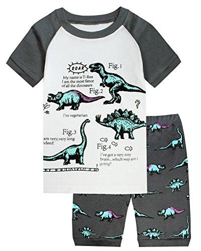 Boys Pajamas Dinosaur Short Toddler Clothes Kids Pjs Sleepwear Summer Shirts Size 3T ()
