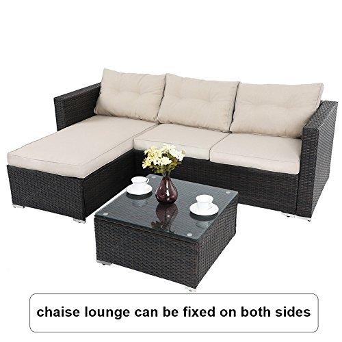 PHI VILLA 3-Piece Outdoor Rattan Sectional Sofa- Patio Wicker Furniture Set, Beige by PHI VILLA (Image #1)