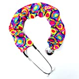 Stethoscope Covers Handmade Variety Patterns Colors 100% Cotton Scrunchie (Pink Blue Yellow Fun Crazy Circles)