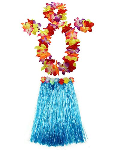 AniiKiss 1 Set 60cm Adult Hula Grass Skirt Hawaiian Party Costume Luau Dance Skirts (Blue)]()