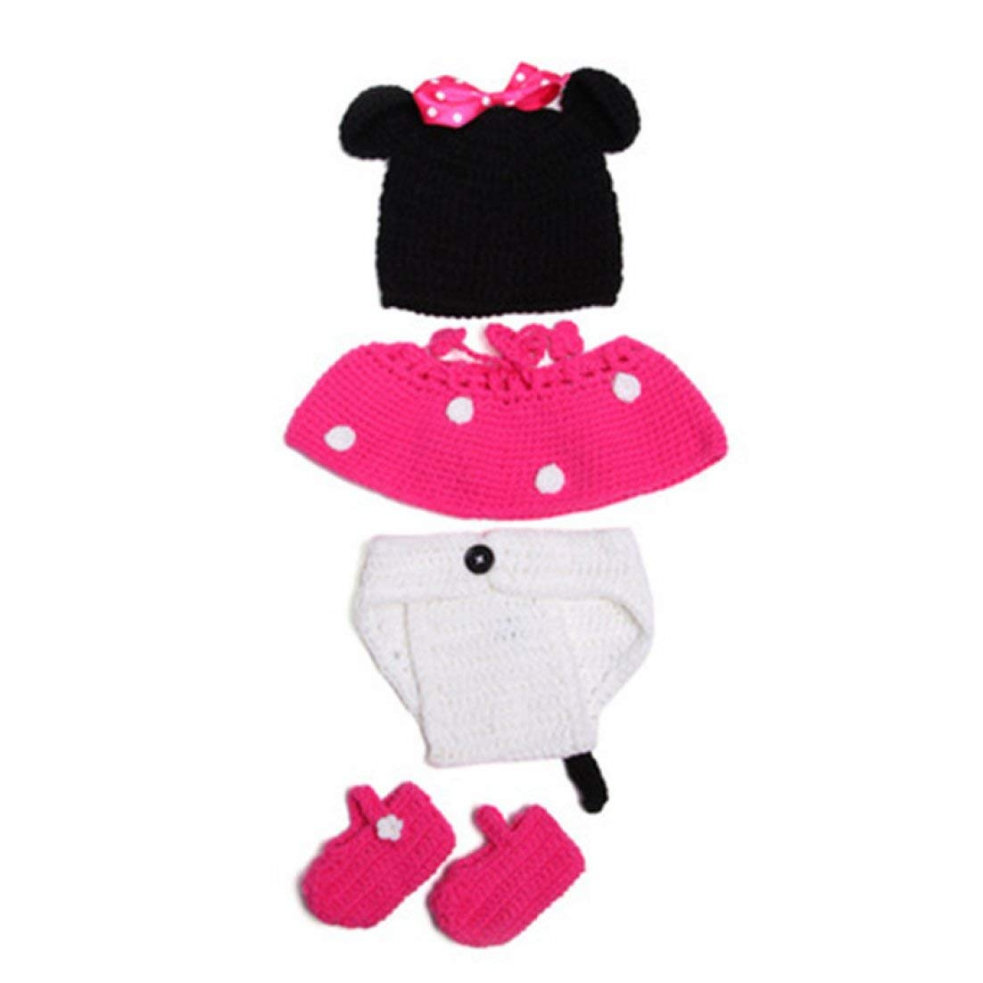 Babymoon Minnie Mouse Crochet Outfit Photography Prop Pink Pack