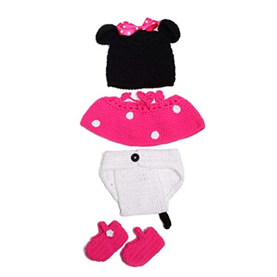 7e2802370 BabyMoon Minnie Mouse Crochet Outfit Photography Prop (Pink) - Pack of 4:  Amazon.in: Clothing & Accessories