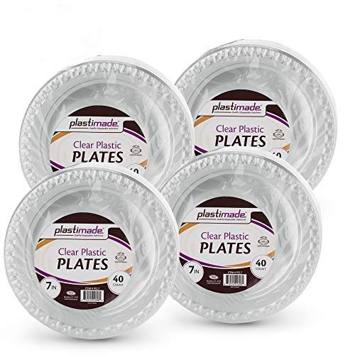 Clear Disposable Plastic 7 Inch Plates (160 Pack) -