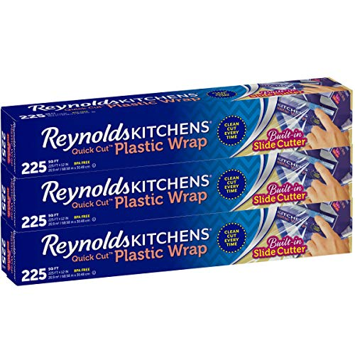 Reynolds Kitchens Quick Cut Plastic Wrap, 225 Square Feet, Pack of 3