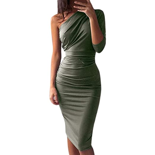41ce04d2b7e Alangbudu Womens One Shoulder Ruced Midi Dress One Long Sleeve PU Sexy  Bodycon Party Pencil Dress