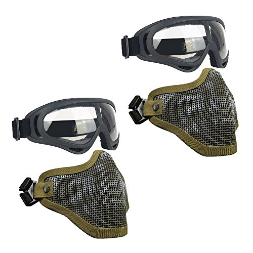 Infityle Airsoft Masks - Adjustable Half Metal Steel Mesh Face Mask and UV400 Goggles Set for Hunting, Paintball, Shooting (2 Set Tan Skull+Tan Skull, 2 Set) ()