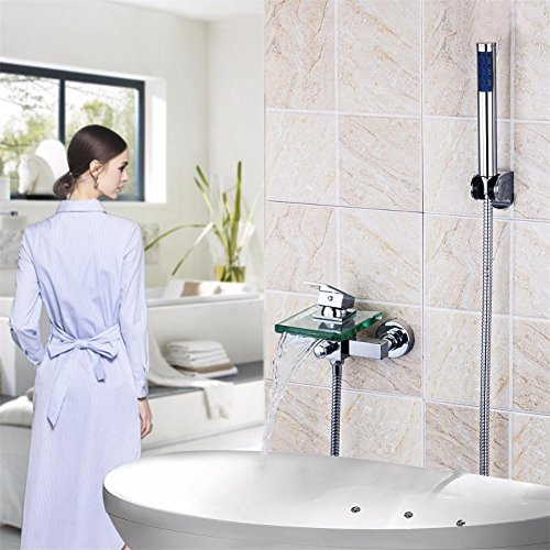GAOF Bathtub and shower faucet Wall-mounted waterfall Square glass ...