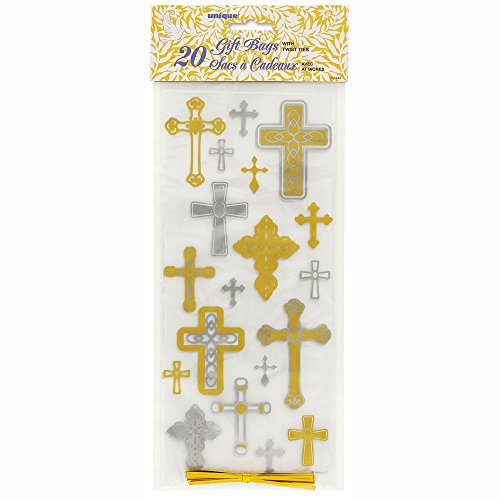 Silver & Gold Cross Religious Cellophane Bags, 20ct (Halloween Sunday School Lessons)