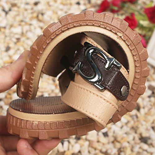 Jazlyn Mens Inghilterra Sandali In Pelle Morbida Cacual Fibbia Infradito Sandali Shoes032-brown S