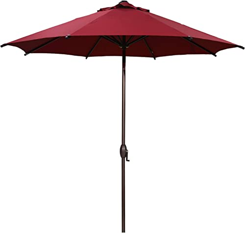 Abba Patio 9 ft Patio Umbrella Outdoor Market Table Umbrella with Push Button Tilt and Crank for Garden, Lawn, Deck, Backyard Pool, 8 Sturdy Steel Ribs, Red