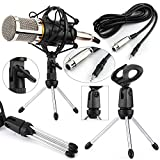 Podcast Recording Condenser Microphone with Stand & Shock Mount Holder Professional