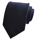 Elfeves Men's Navy Blue Silk Cravat Woven Tie Textile Business Casual Neckties