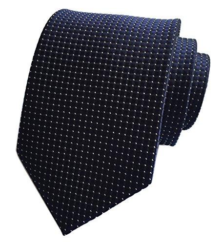 Ties Silk Narrow Blue (Elfeves Men's Navy Blue Silk Cravat Woven Tie Textile Business Casual Neckties)