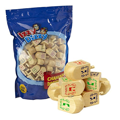 100 Medium Wood Dreidels - Classic Chanukah Spinning Draidel Game, Gift and Prize - Bulk Value Pack - By Izzy 'n' Dizzy by Izzy 'n' Dizzy