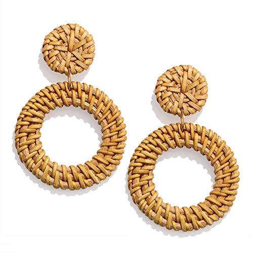 PHALIN Rattan Earrings Handmade Wicker Braid Drop Earrings Boho Lightweight Weave Straw Hoop Dangle Earrings Statement Earring for Women Girls (D Round Circle)