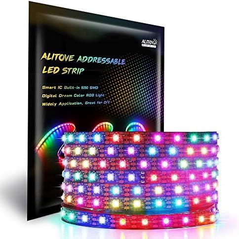 ALITOVE 16.4FT 300 Pixels WS2812B Programmable Addressable LED Strip Light Black PCB 5050 RGB Dream Color Flexible LED Rope Light DC5V Not Waterproof