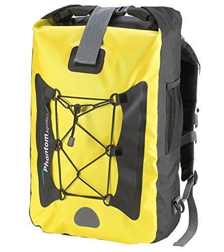 Phantom Aquatics Premium Waterproof Backpack Dry Bag, Yellow, 25-Liter