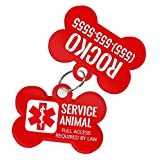 Service Animal Pet ID Dog Tag & Personalized Custom Pet Tag with Pets Name & Contact Number [USA COMPANY] (Service Dog)