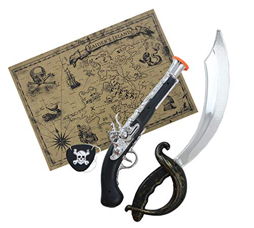 Well Pack Box Toy Plastic Pirate Sword and Pistol Bundle Authentic Style Paper Map Felt Black Eyepatch -