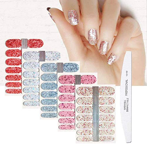 BornBeauty 5pcs Glitter Nail Wraps Polish Decal Strips With 1Pcs Nail File Adhesive Shine Nail Art Stickers Manicure Kits For Women Girls