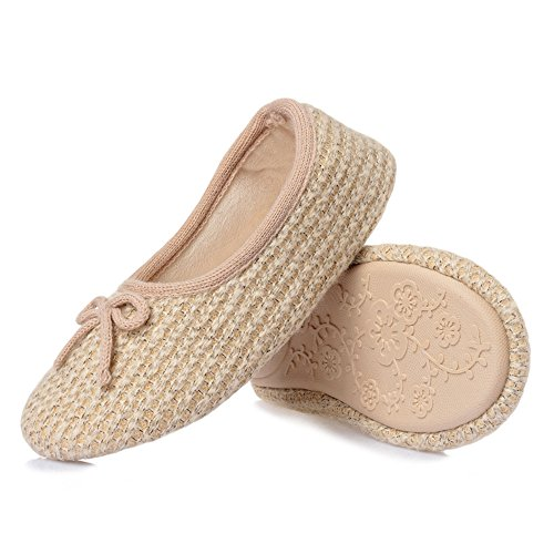 bestfur Elastic Soft Knitted Warm Cotton Beige Shoes House Comfortable Women's Slippers Indoor wgEnXqtrg