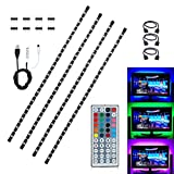 Topled LightUSB LED Strip Light Kit, 4 Pre-Cut One Foot Strips & 3 Wire Mounting Clips & 44 Key Mini Remote Control Multicolor RGB Home Accent LED Tape Light Strip for TV Backlight (USB Backlight)