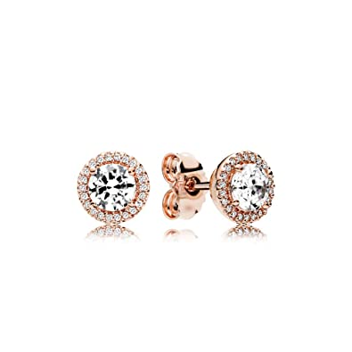8727d33aa Amazon.com: Pandora Classic Elegance Stud Earrings, Pandora Rose and Clear  CZ 286272CZ: Jewelry