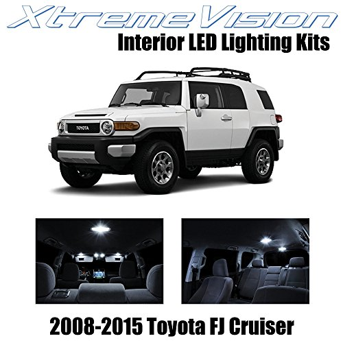 XtremeVision Toyota FJ Cruiser 2008-2015 (4 Pieces) Pure White Premium Interior LED Kit Package + Installation Tool