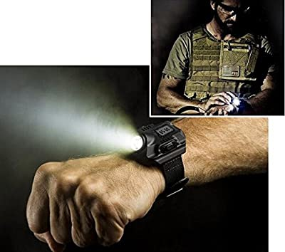 Eornmor Super Bright Tactical Cree LED 1000 Lm Display Rechargeable Waterproof LED Flashlight Wrist Watch Torch Light