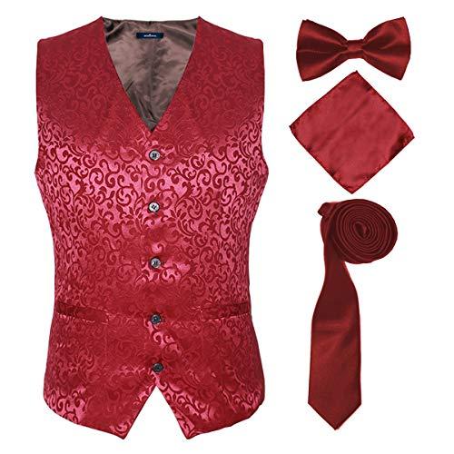 Men's Floral Party Dress Suit Stylish Dinner Vests,Red,4XL