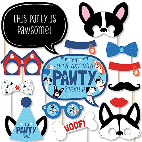 Big Dot of Happiness Pawty Like a Puppy - Dog Baby Shower or Birthday Party Photo Booth Props Kit - 20 Count
