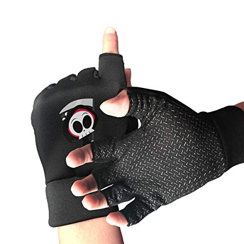 CITTS Halloween Death Cute Ghost Reaper Unisex Womens Mens Outdoor Light Anti-Skid Half-Finger Gloves -