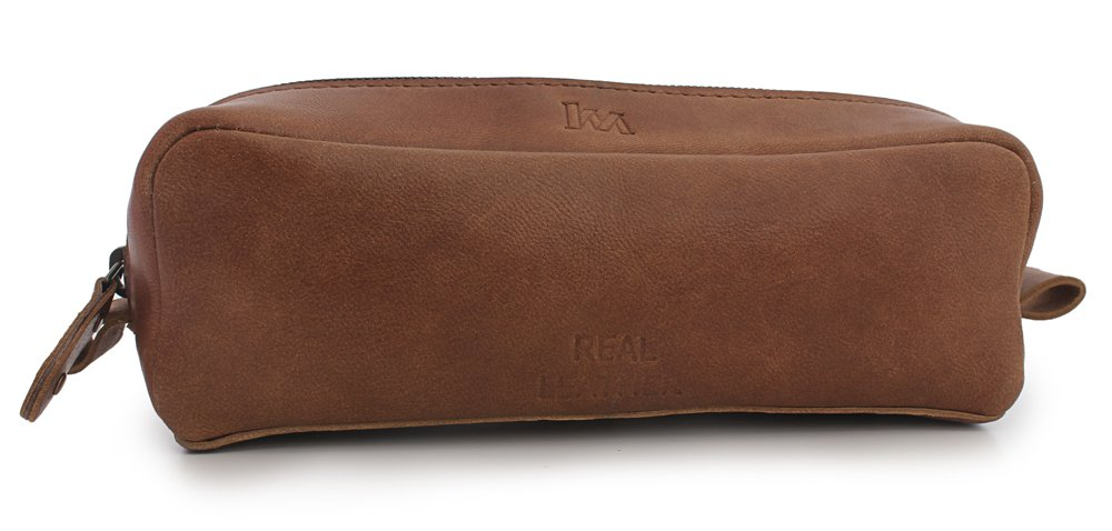 Kyraa Leather Zippered Pen Pencil Pouch Case for Students, Professionals,Artists with Large Compartment to carry Art Supplies, Charcoal brush, Pen / Pencil Markers, Unisex Vintage Case (Brown) by Kyraa International