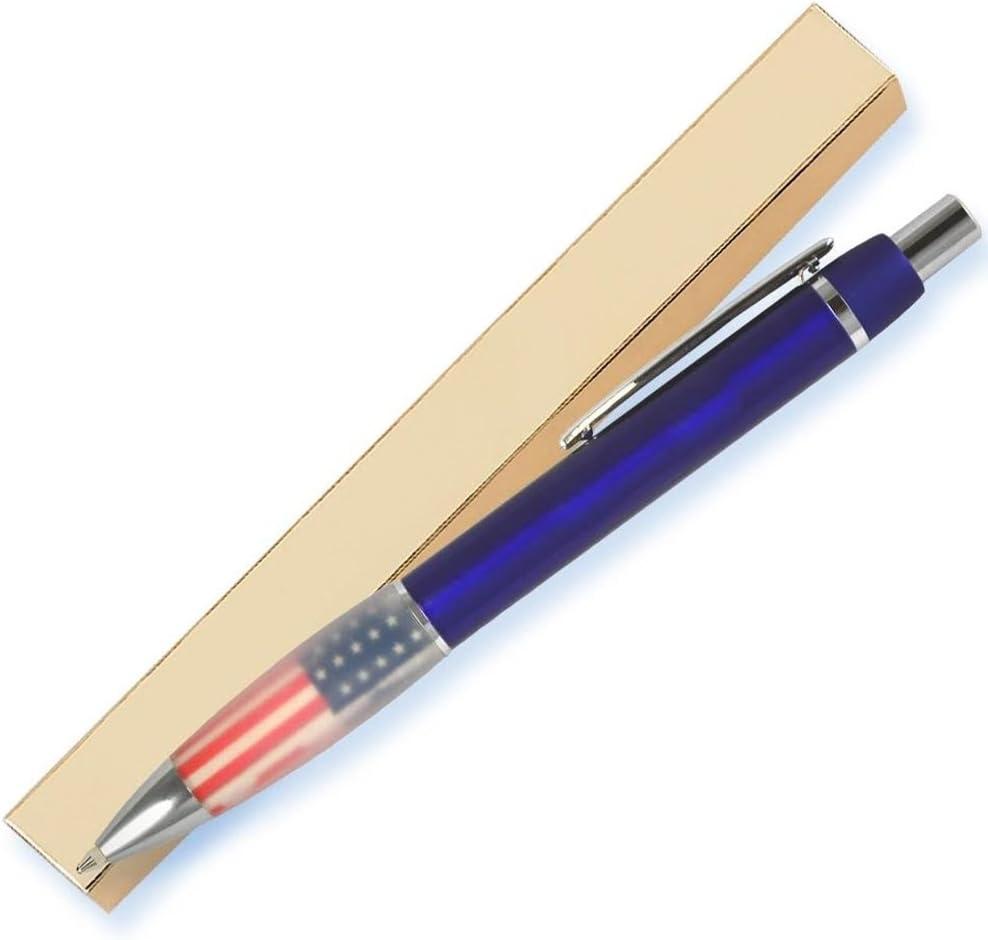 Azul metálico bolígrafo, detalles en plata, bandera patriótica ...