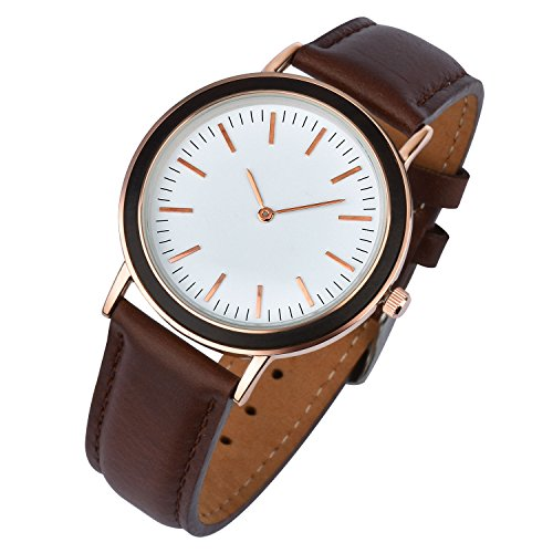 Zeiger New Mens Women Fashion Casual Business White Dial Analog Quartz Watch With Leather Band   Brown