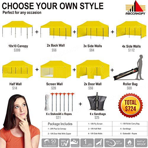 ABCCANOPY (18+Colors) Deluxe 10x20 Pop up Canopy Outdoor Party Tent Commercial Gazebo with Enclosure Walls and Wheeled Carry Bag Bonus 6X Weight Bag and 2X Half Walls and 1x Screen Wall (Yellow)