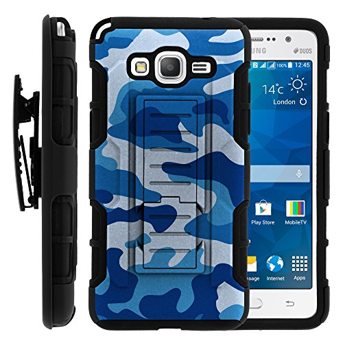 Galaxy Grand Prime Case, Galaxy Grand Prime Holster, High Impact Advanced Double Layered Hard Cover with Built in Kickstand and Belt Clip for Samsung Galaxy Grand Prime SM-G530H, SM-G530F (Cricket) from MINITURTLE   Includes Screen Protector - Blue Camouflage
