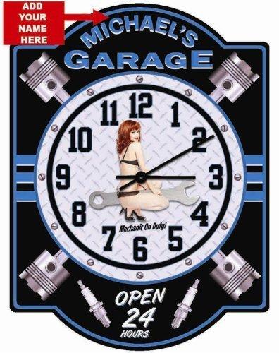 Garage Personalized Hardboard Pin Up Girl Blue Clock sign from Redeye Laserworks