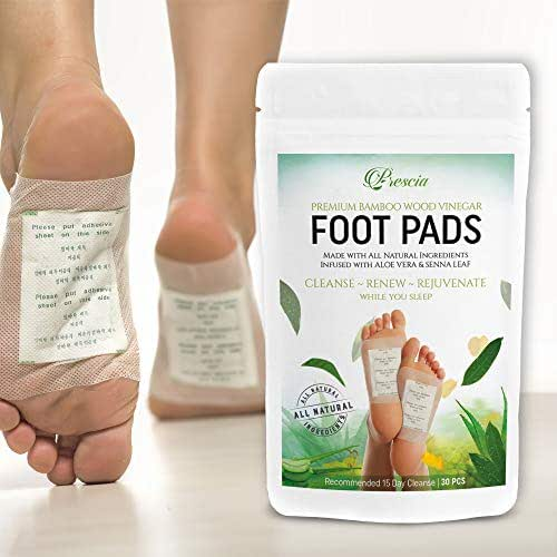 Prescia Bamboo Vinegar Foot Pads | Remove Impurities - Cleansing | 30 Piece Patch | Aids in Relieving Stress and Tension | Reduce Foot Odor | Pain Relief | All-Natural Ingredients | Organic Foot Pads