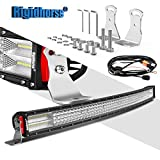 Rigidhorse Curved Quad Row LED Light Bar 42Inch 744W Flood Spot Combo LED Light OFF Road Lights Waterproof IP68 Driving Light for Trucks Jeep ATV
