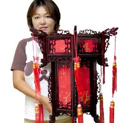 六角巨大赤福字木製中華ランタン(55cm)組み立てキット【中国提灯】 B07D3NGQLW