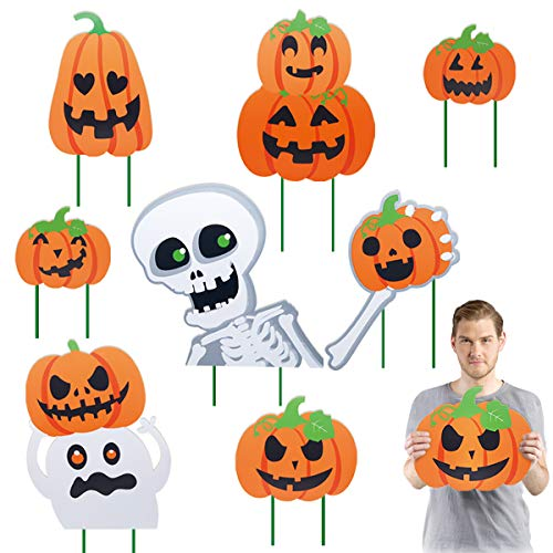 Pawliss Halloween Decorations Outdoor, Extra Large 8ct Pumpkins Skeleton and Ghost Corrugate Yard Signs with Stake, Family Friendly Trick or Treat Party Plastic Decor by Pawliss