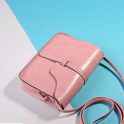 Leather Cross Vintage Shoulder Women's Messenger Handbag Body Xinantime Bag Pink 1tTIq