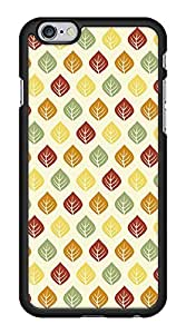 Autumn Fall Leaves Pattern Snap-On Cover Hard Plastic Case for iPhone 6 (Black)