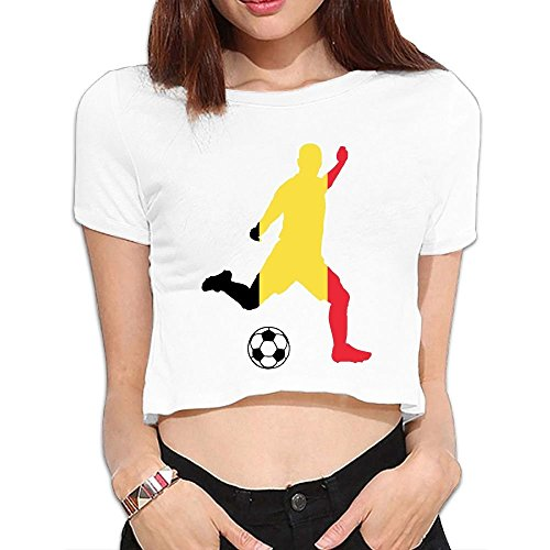 Summer Crops for Women Belgium Flag Soccer Player Sexy Round Neck Girls Short Sleeve Tee Shirts